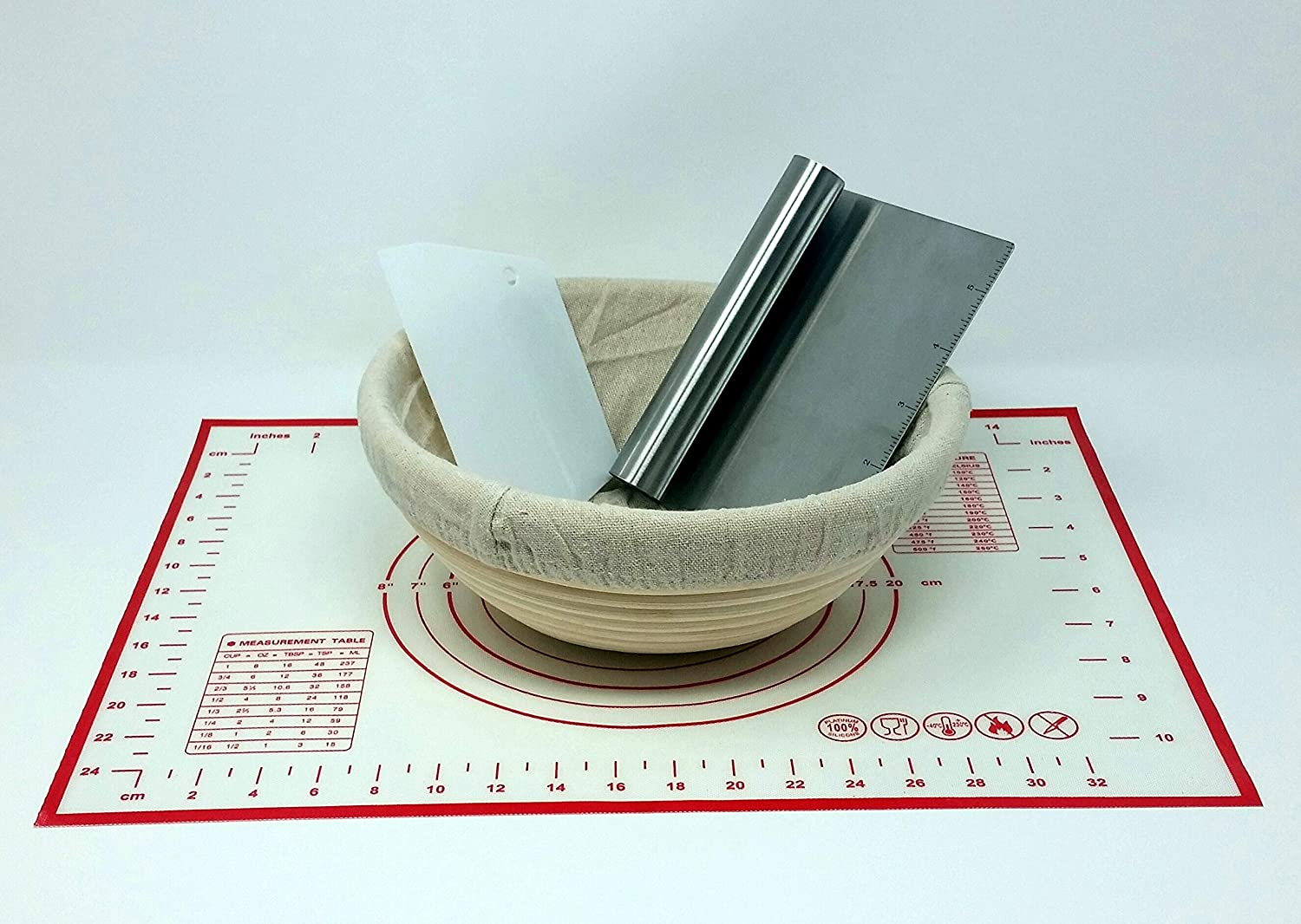 Platinum Silicon Baking Mat with Measurement Table /& Temp Conversion Chart Linen Basket Liner Artisan Bread for the Beginner Natural Banneton Proofing Basket Cleaning Brush Chopper//Scraper