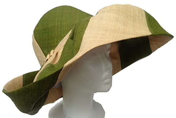 8a5786ec50f Goal 2020 Madagascar Raffia Wide Brim Sun Hats with Wide Olive Green and  Natural Stripes and