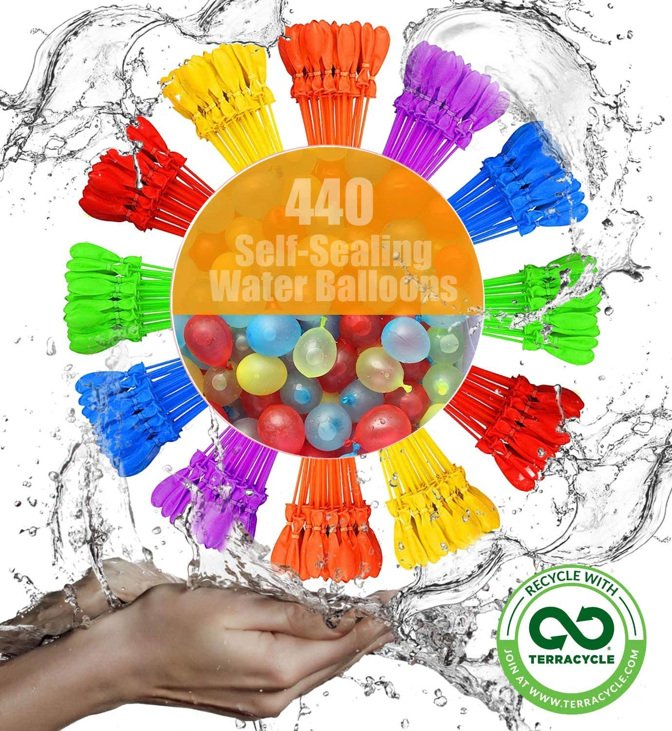 Self-Sealing Water Balloons 440 Instant Balloons Easy Quick Fill Balloons with in 60 Second Splash Fun Rapid-Filling for Kids and Adults Party S0h57