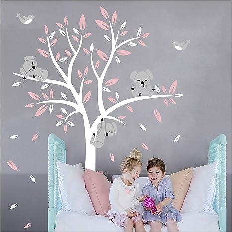 Sayala Stickers Muraux Koala Arbre Enfant- Autocollant Adhésif Mural Koala  Branches Stickers Pour Chambre Enfants Bébé Art,100 * 10.10m (Rose)