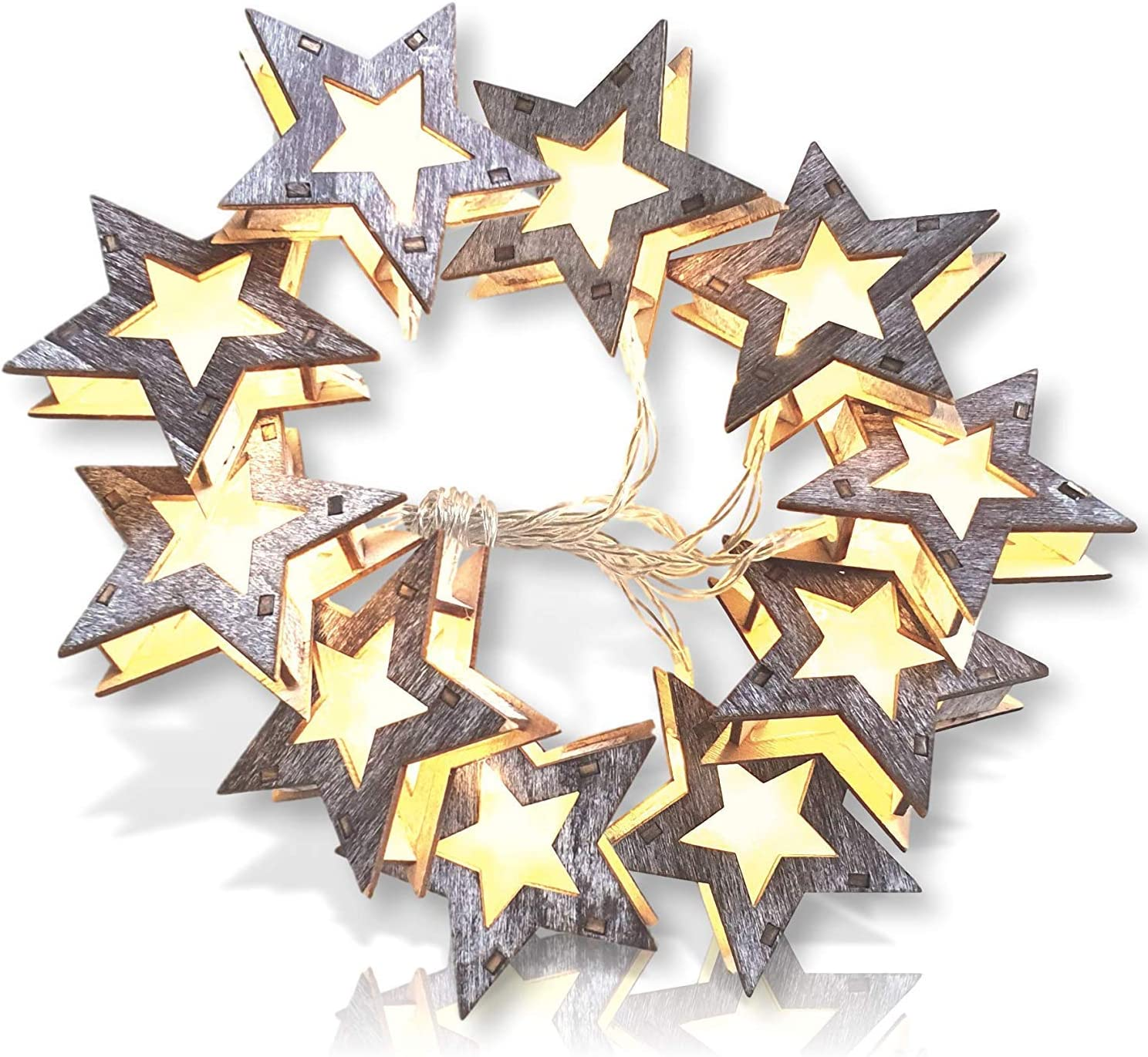 Wooden Star Lights. Rustic Star String Lights. Distressed Wood Star Shaped Lights Garland for Farmhouse Stars Christmas Lights Decoration