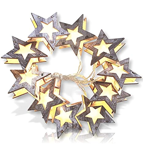 Qualizzi Wooden Star Lights  Rustic Star String Lights  Distressed Wood  Star Shaped Lights Garland for Farmhouse Stars Christmas Lights Decoration