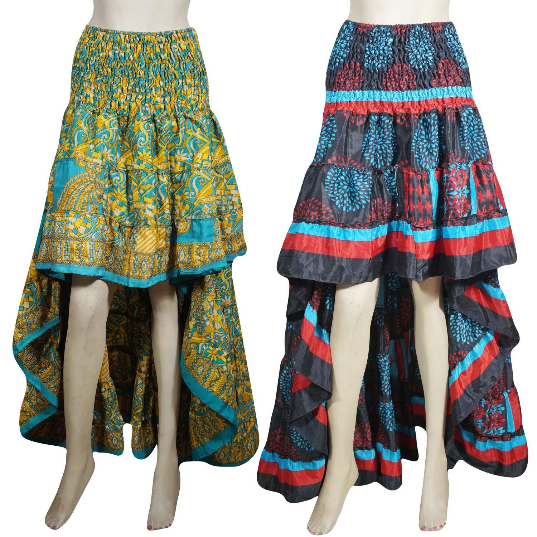 b31620163b Mogul Interior 2pc Womens Hi Low Skirt Bohemian Gypsy Chic Printed Dancing Skirt  Beautiful Flare Boho Style Skirts S/M Blue, Black at Amazon Women's ...