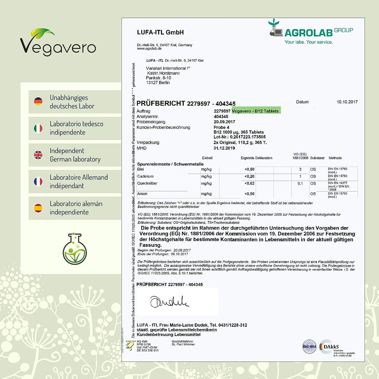 Vitamina B12 Vegavero® 1000mcg | Apta Para Veganos | Con B6 + Ácido Fólico | SIN ESPESANTES NI OTROS ADITIVOS | 180 Comprimidos | Ganador Eco-Test ...
