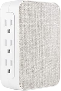 GE Pro 6 Outlet Fabric Wall Tap Surge Protector, Side Access, Designer Power Outlet Adapter, Plug In Outlet Extender, 1200 Joules, Warranty, UL Listed, Gray/White, 43435