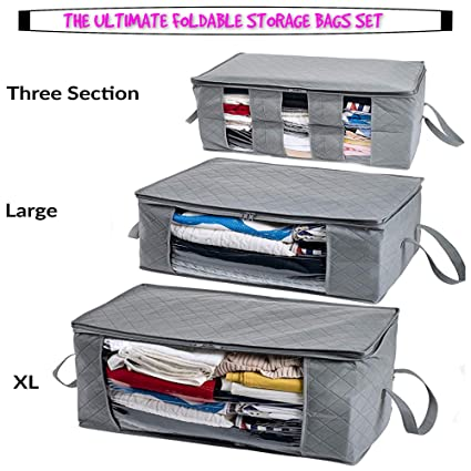 Woffit Foldable Storage Bag Organizers, Large Clear Window & Carry Handles,  Great for Clothes, Blankets, Towels, Winter & Summer Clothing, Closets, ...