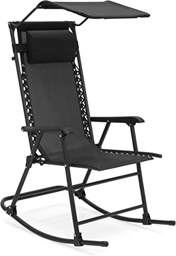 Best Choice Products Foldable Zero Gravity Rocking Patio Chair w/ Sunshade Canopy