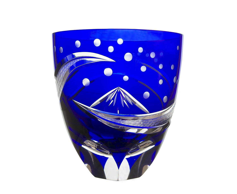 Japanese Traditional Crafts、Edo Kiriko Old FashionedガラスMT。Fuji by Hokusai (ブルー) B07C4VBZKF