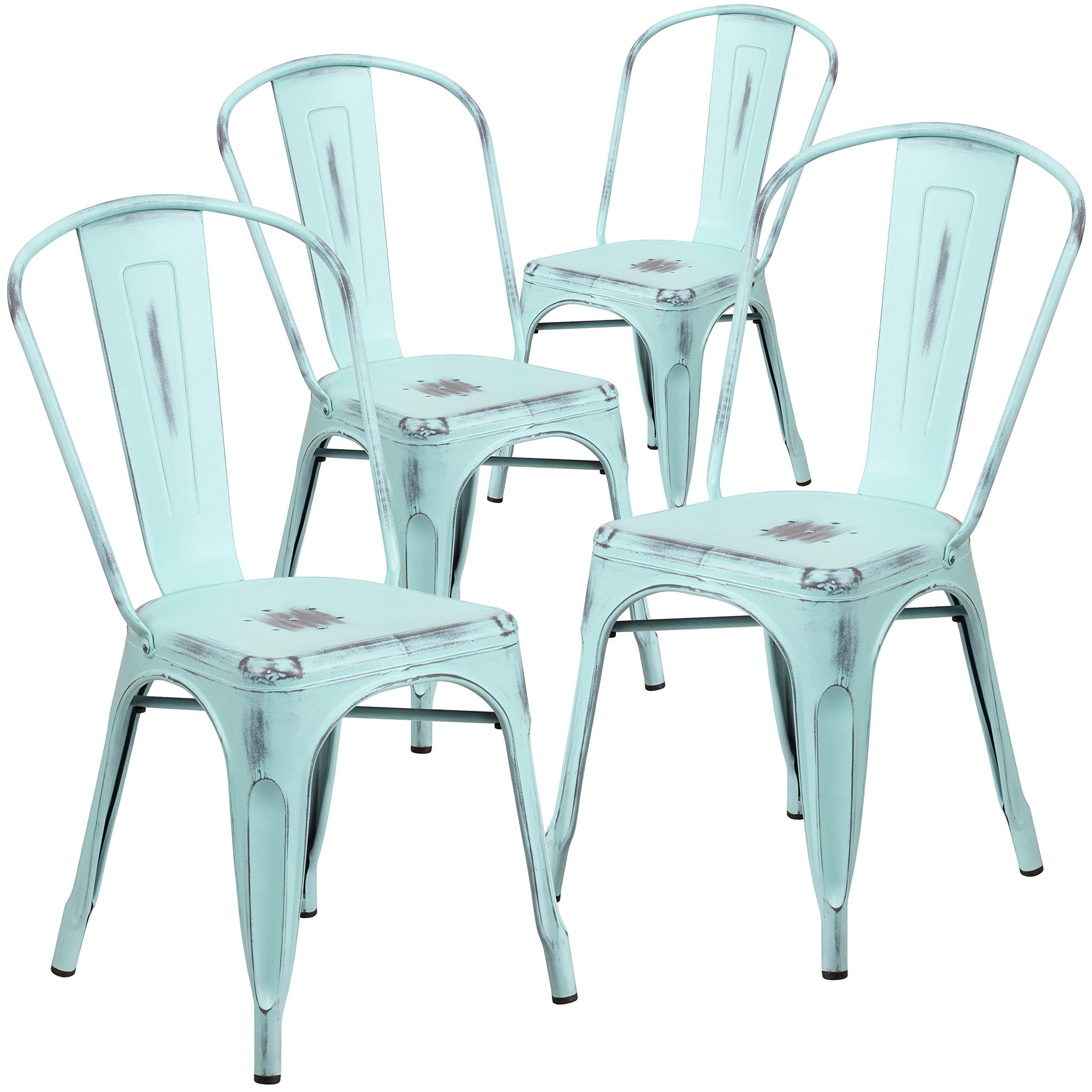 Flash Furniture 4 Pk. Distressed Green-Blue Metal Indoor-Outdoor Stackable Chair