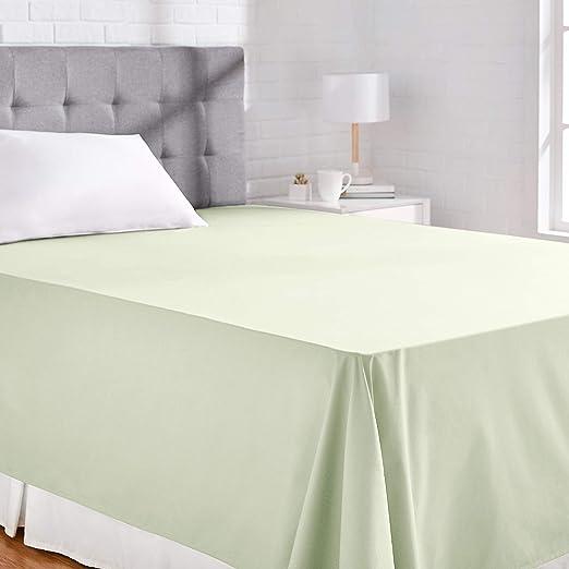 AmazonBasics Everyday - Sábana encimera (100% algodón), 275 x 275 cm - Verde: Amazon.es: Hogar