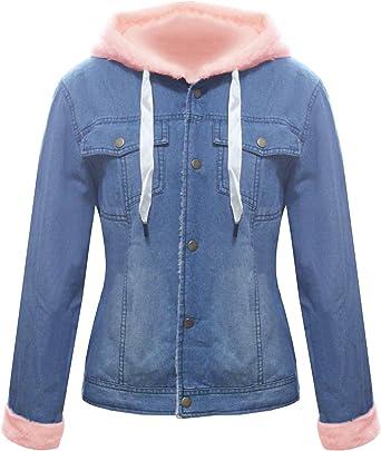 Women Denim Jacket Oversized Hooded Waistcoat Gilet Winter Overcoat Jeans Coat