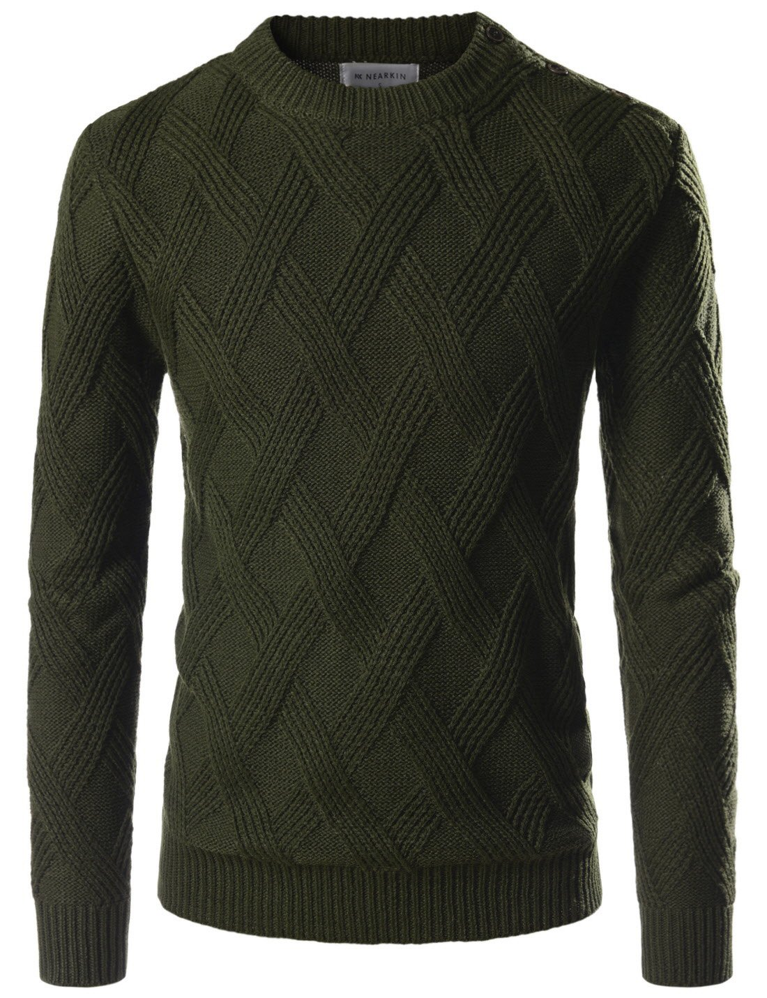 NEARKIN (NKNKKNB704) Roundneck Fisherman Knitted Wool Blend Long Sleeve Sweater Hunter Green US L(Tag size L)