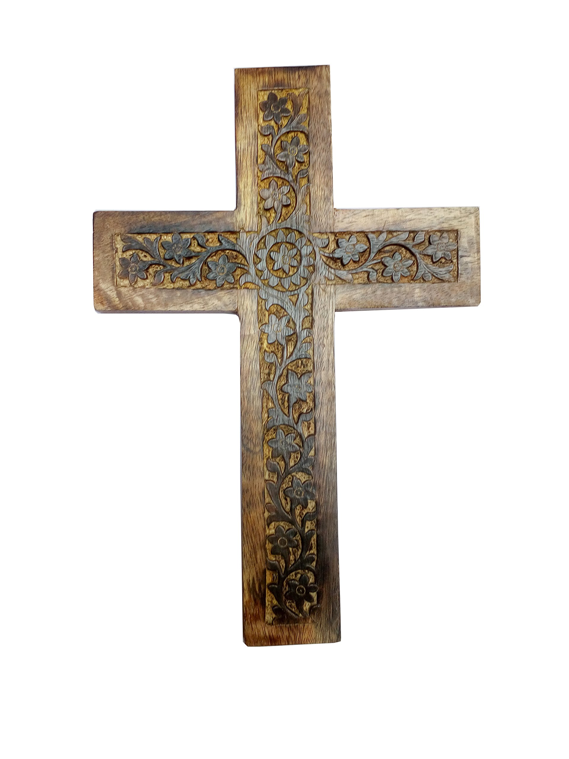 Hind Handicrafts Antique Mango Wood Hand Crafted Wall Mounted Holy Cross SET of 2 By (12 x 8 inch) (Wooden Engraved) (Hardwood)