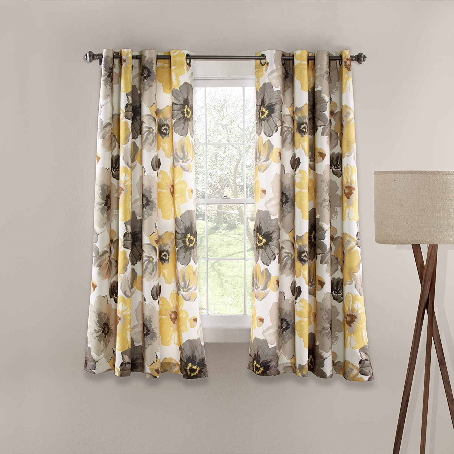 "Lush Decor Leah Floral Room Darkening Yellow and Gray Window Curtains Panel Set for Living Room, Dining Room, Bedroom (Pair), 63"" x 52"""