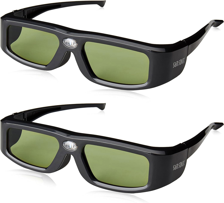 Shumo 3D Glasses Active Shutter Rechargeable Eyewear for DLP-Link Projectors Glasses Movie Glasses 2PCS