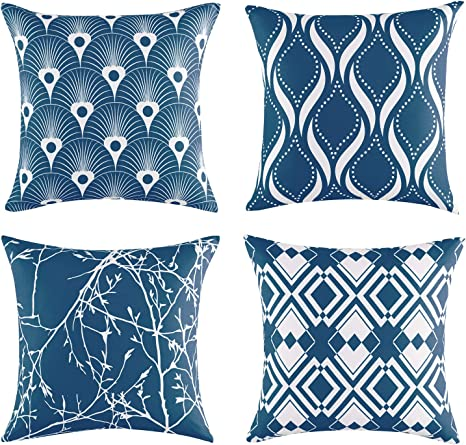exq home soft silky throw pillow covers 18x18 navy pillow covers 18x18 decorative pillow covers for sofa set of 4 geometric fall square pillow covers