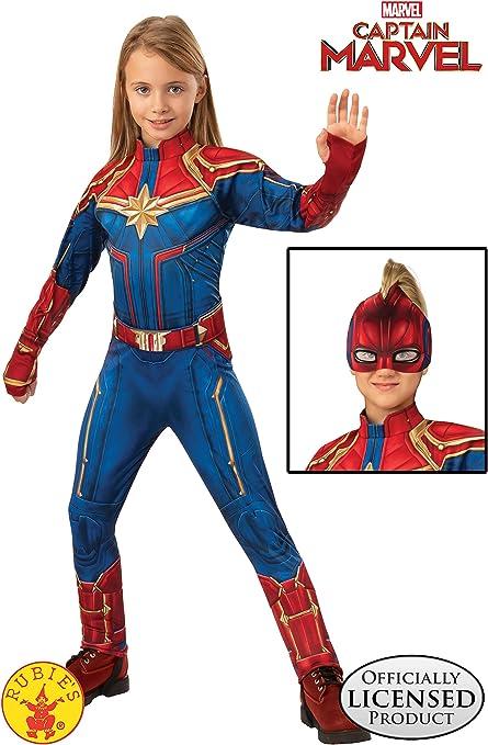 Amazon Com Girls Captain Marvel Hero Suit Deluxe Superhero Costume Toys Games