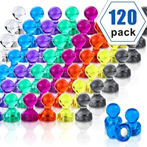 Push Pin Magnets, 120 Pack 8 Colors Refrigerator Magnets, Colorful and Practical Fridge Magnets, Perfect for Whiteboard Magnets, Office Magnets, Map Magnets