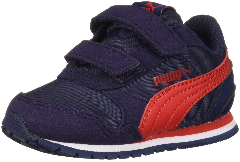 PUMA Unisex ST Runner NL Velcro Kids Sneaker, Peacoat-Ribbon red, 12 M US Little