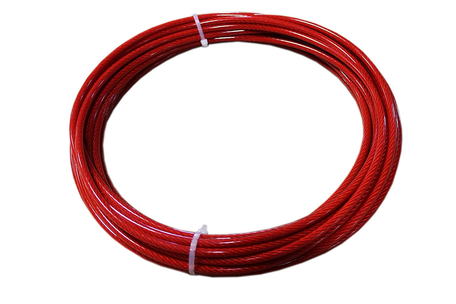 Loos Stainless Steel 302/304 Wire Rope, Vinyl Coated, 7x19 Strand Core, Red, 1/8