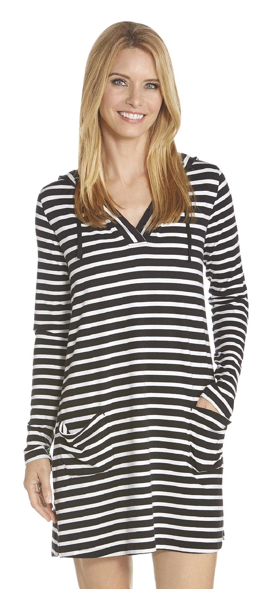 96687eeab8c Coolibar UPF 50+ Women s Beach Cover-up Dress - Sun Protective (Small-  Black White Stripe) Sports Apparel
