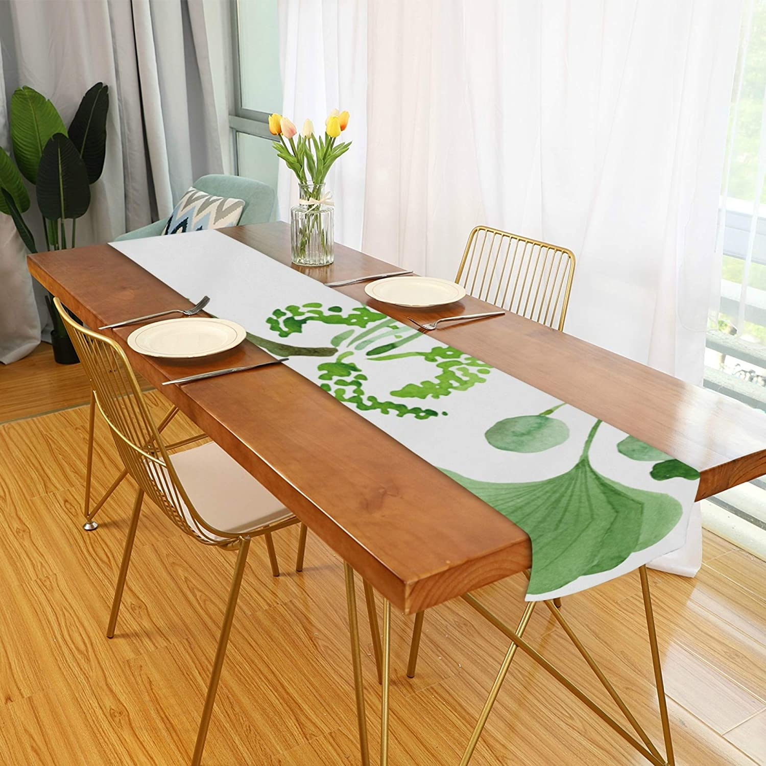 Amazon Com Farmhouse Table Runner For Home Kitchen Dining Table Coffee Table Decor Table Runner Farmhouse Style Green Ginkgo Biloba Floral Botanical Flower Table Linens For Indoor Outdoor Everyday Uses 13x70in Home Kitchen
