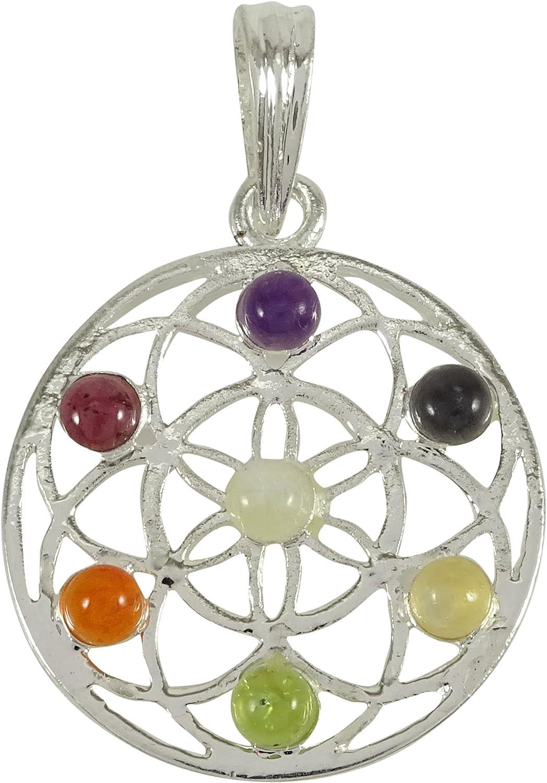 Harmonize Metal 7 Chakra Multistone Flor de la Vida Espiritual Colgante curativo de Las Piedras Preciosas de Cristal