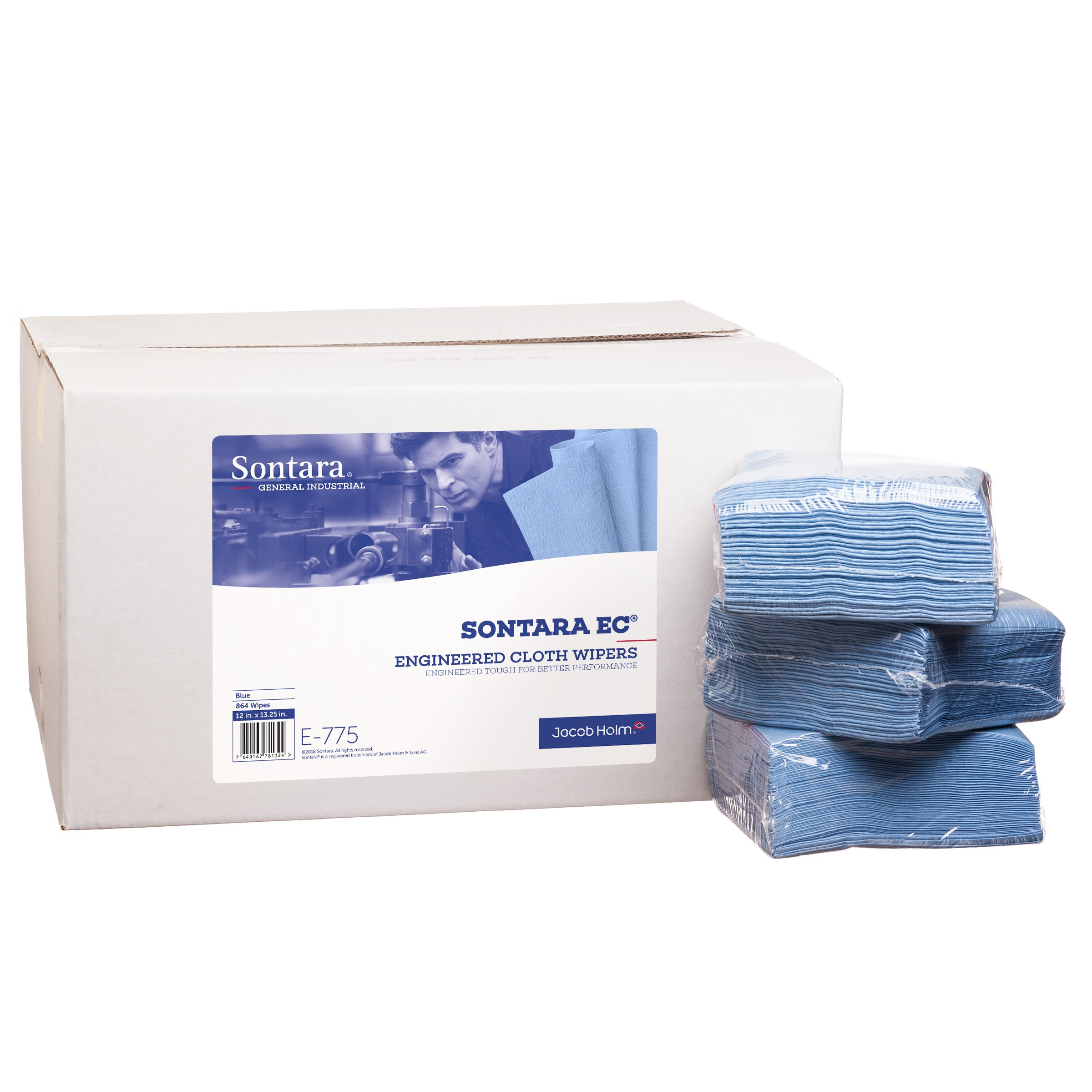Sontara Engineered Cloth Wipers, E775, Blue, 12'' x 13.25'', (Total of 864 Wipes), (Case of 18 Packs, 48 Wipes Per Pack) by Sontara (Image #3)