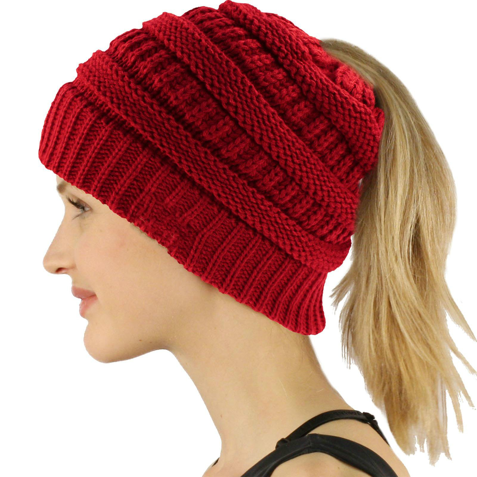 COCO LEE Chic Red Knit Hat Cable Beanie Stretch Chunky Winter Bun Ponytail Beanie Tail Womens Ponytail Messy Bun Beanie Solid Ribbed Hat Cap for Women Girls
