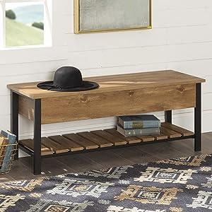 WE FurnitureOpen-Top Storage Bench, Barnwood