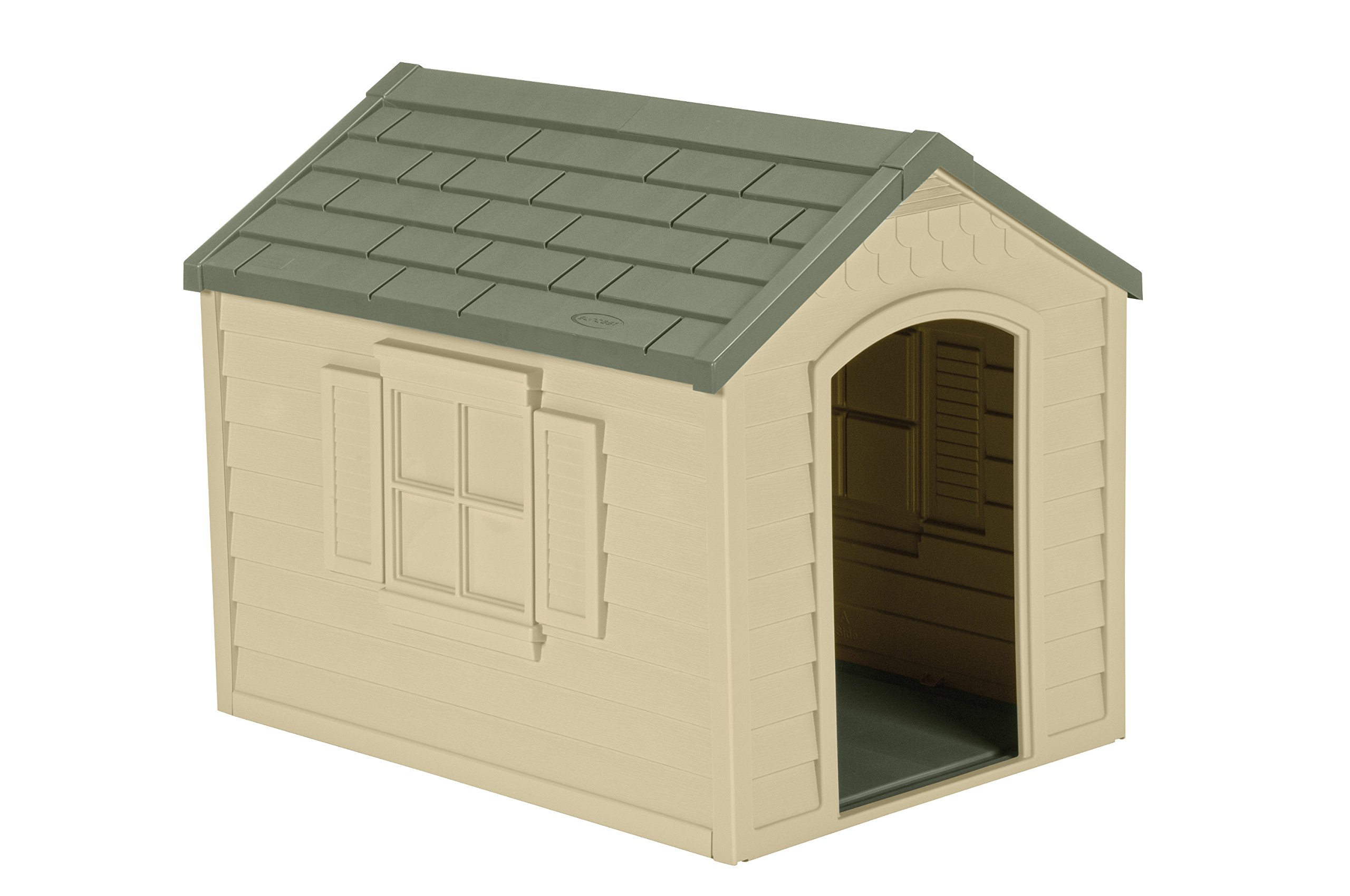Suncast Outdoor Dog House with Door - Water Resistant Dog House for Small to Large Sized Dogs - Easy to Assemble - Perfect for Backyards by Suncast
