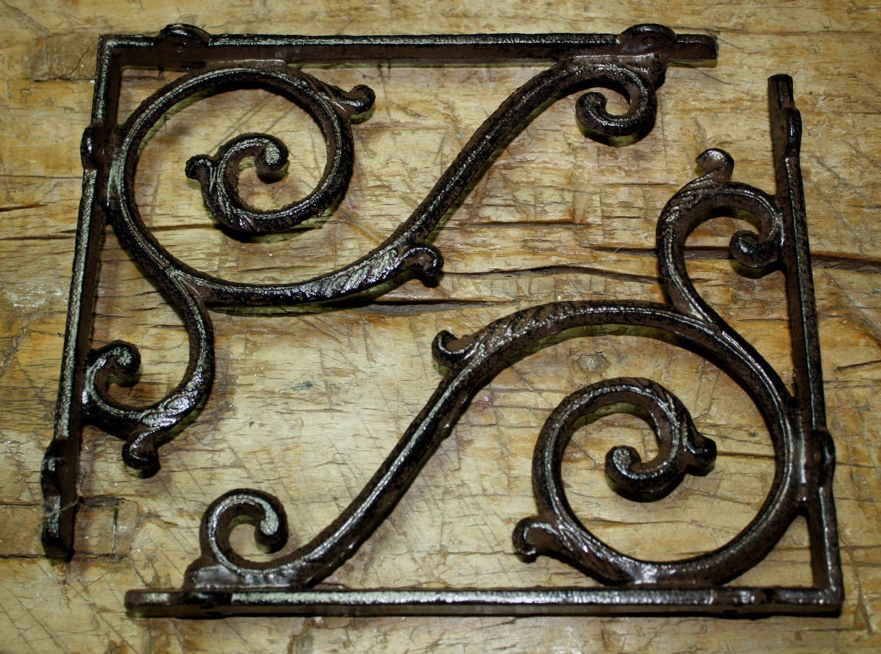 6 Cast Iron Antique Style LARGE IVY SCROLL Brackets Garden Braces Shelf Bracket , Garden Braces Shelf Bracket , Garden Braces Shelf Bracket RUSTIC , Wall Brackets Shelf Support for Storage
