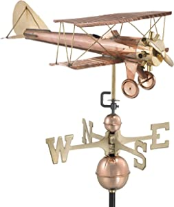 Good Directions Biplane Weathervane, Pure Copper, Airplane Weathervanes, Aviation Décor