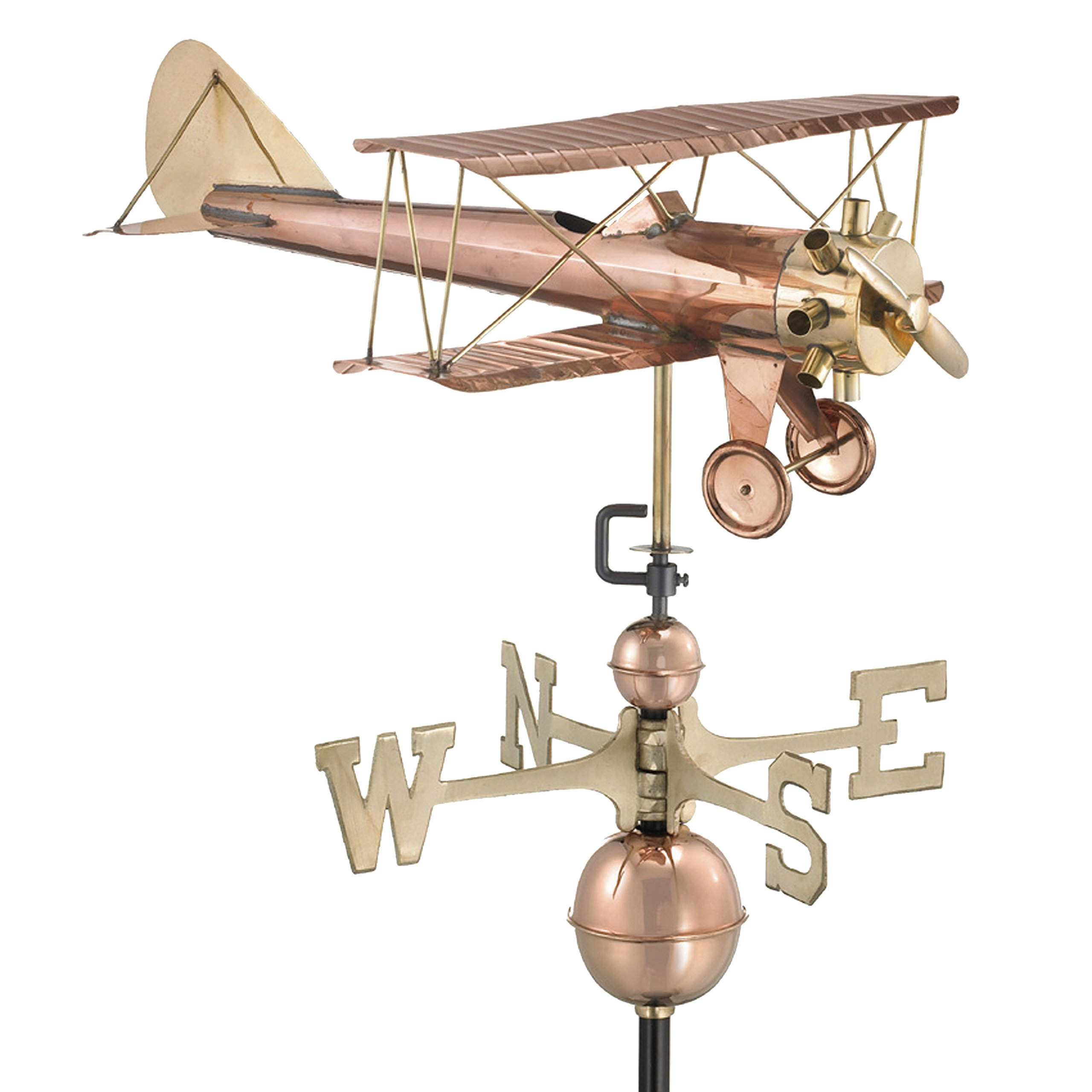 Good Directions Biplane Weathervane, Pure Copper, Airplane Weathervanes, Aviation Décor by Good Directions