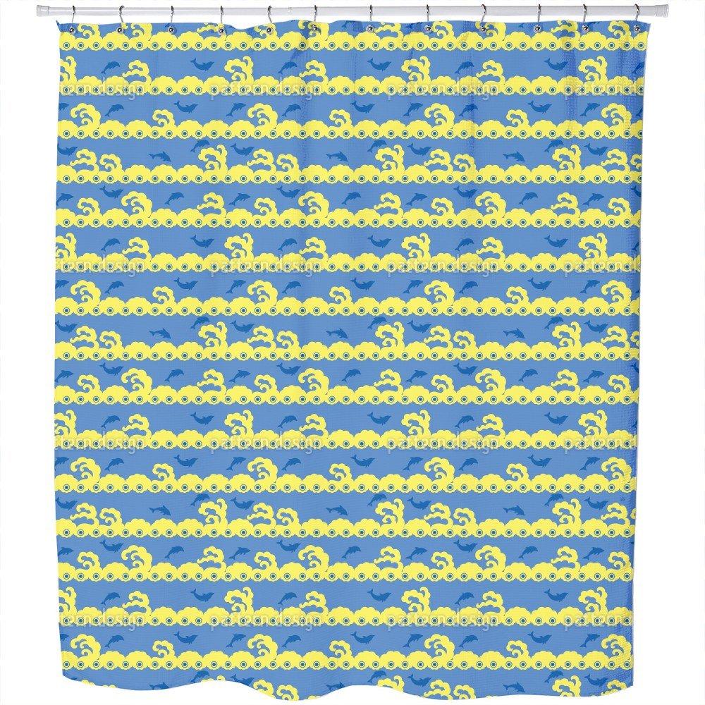Uneekee Wavy Games Shower Curtain: Large Waterproof Luxurious Bathroom Design Woven Fabric