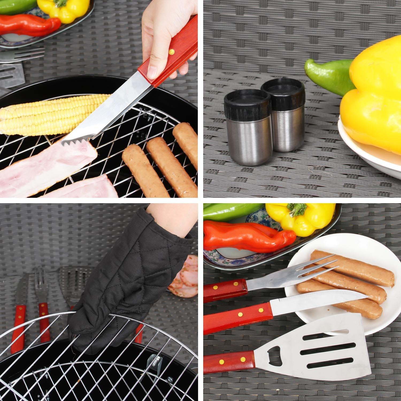 7 piezas Set de cubiertos BBQ Parrilla Barbacoa Set Tool Set Barbacoa Delantal de cocina barbacoa: Amazon.es: Jardín