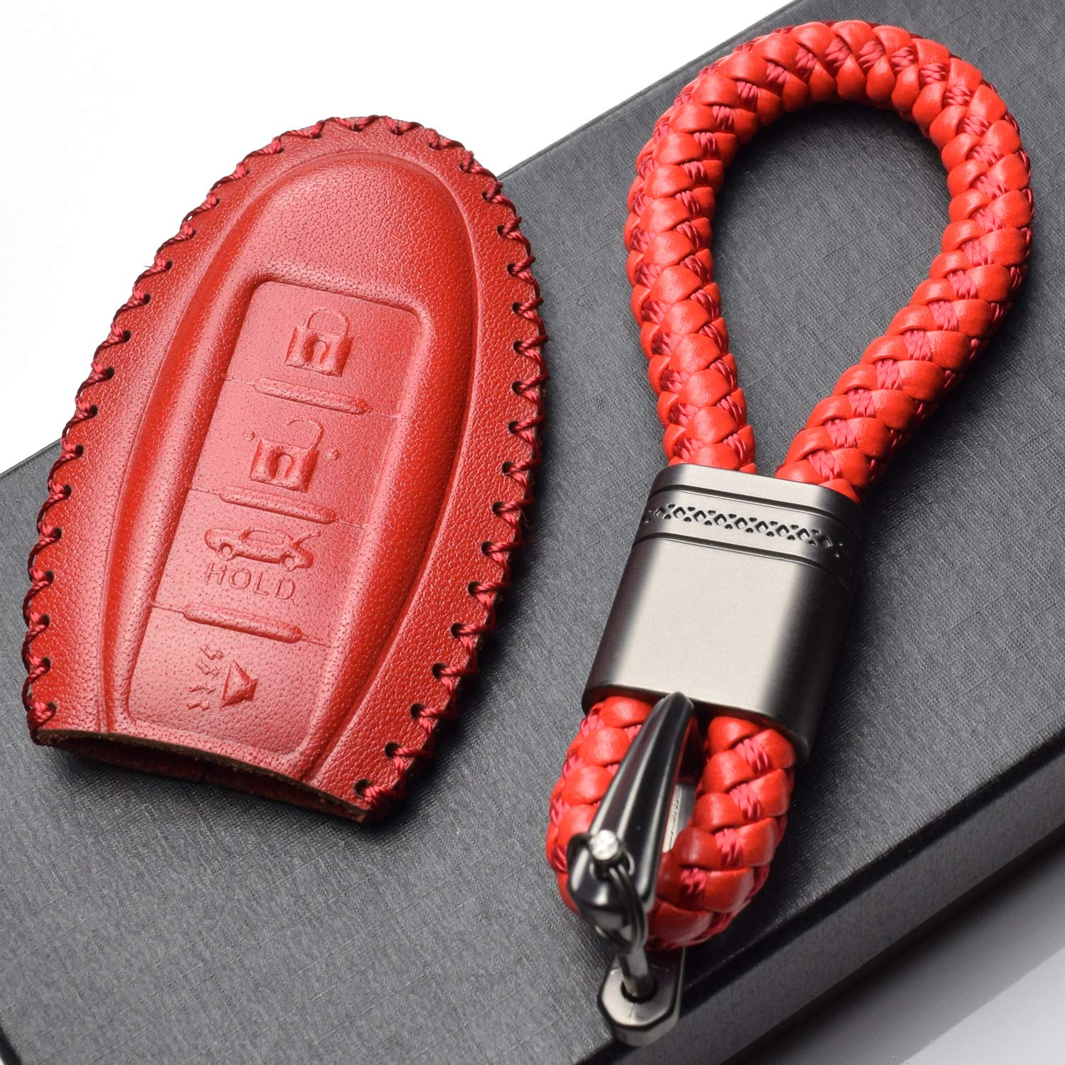 3 Buttons, Black//Red Vitodeco Leather Keyless Entry Remote Control Smart Key Case Cover with a Key Chain for Nissan /& Infiniti