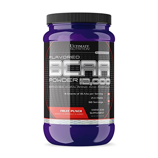 Ultimate Nutrition Flavored BCAA 12,000mg Branched Chain Amino Acid Supplement Powder, Fruit Punch, 457g best BCAA powder