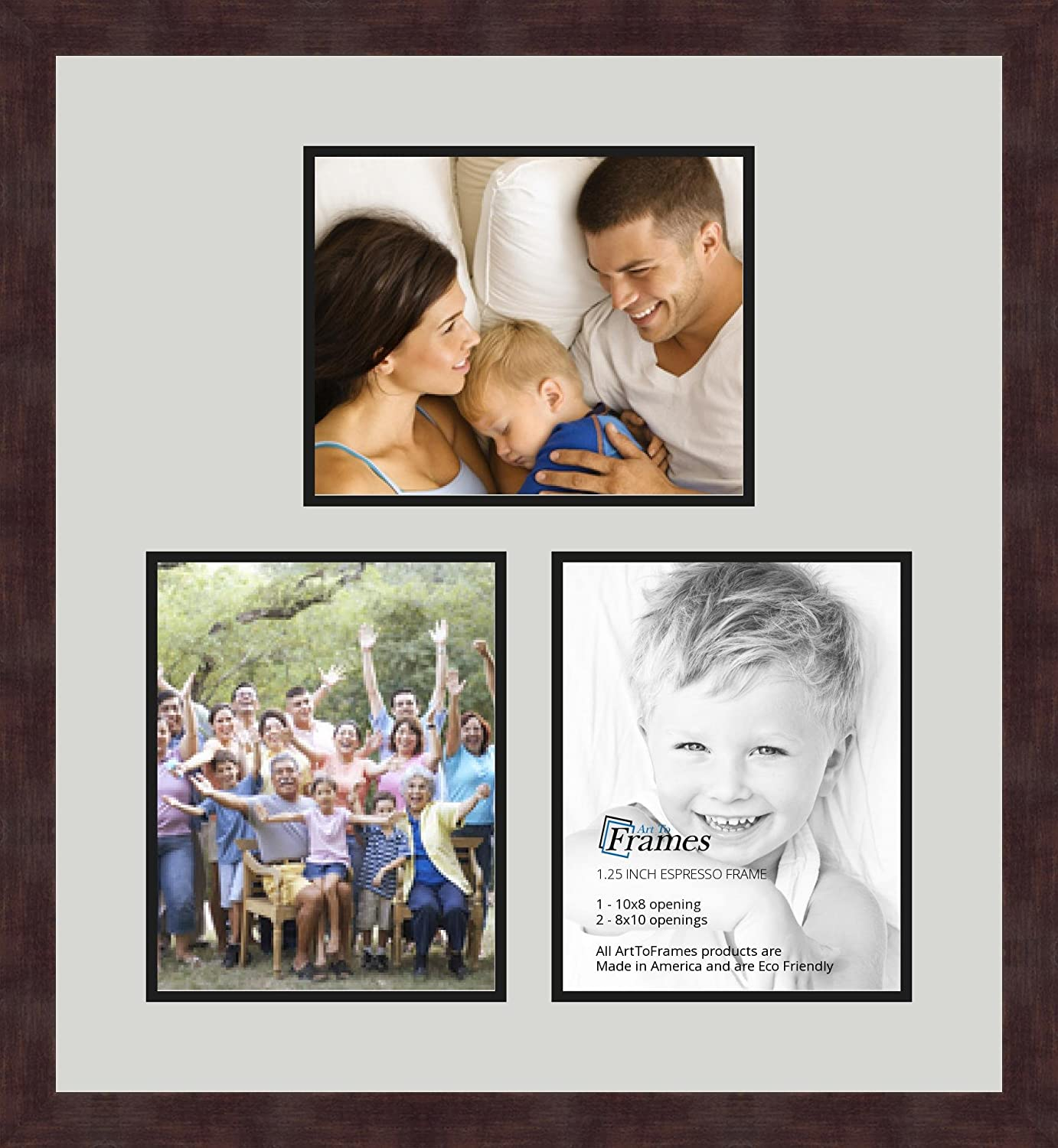 Art to Frames Double-Multimat-601-756//89-FRBW26061 Collage Frame Photo Mat Double Mat with 3-8x10 Openings and Espresso Frame