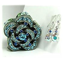 Swarovski Crystal Drop Earrings in a Blue Rose Flower Box set with Swarovski...