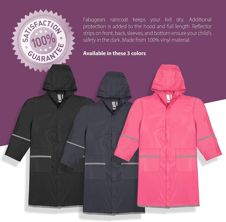 Wantdo Children Long Rain Jacket Lightweight Rain Coat with Hood Navy 9-10Y