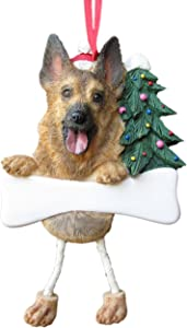 """German Shepherd Ornament with Unique """"Dangling Legs"""" Hand Painted and Easily Personalized Christmas Ornament"""