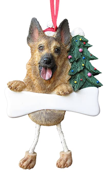 """German Shepherd Ornament with Unique """"Dangling Legs"""" Hand Painted  and Easily Personalized Christmas - Amazon.com: German Shepherd Ornament With Unique"""