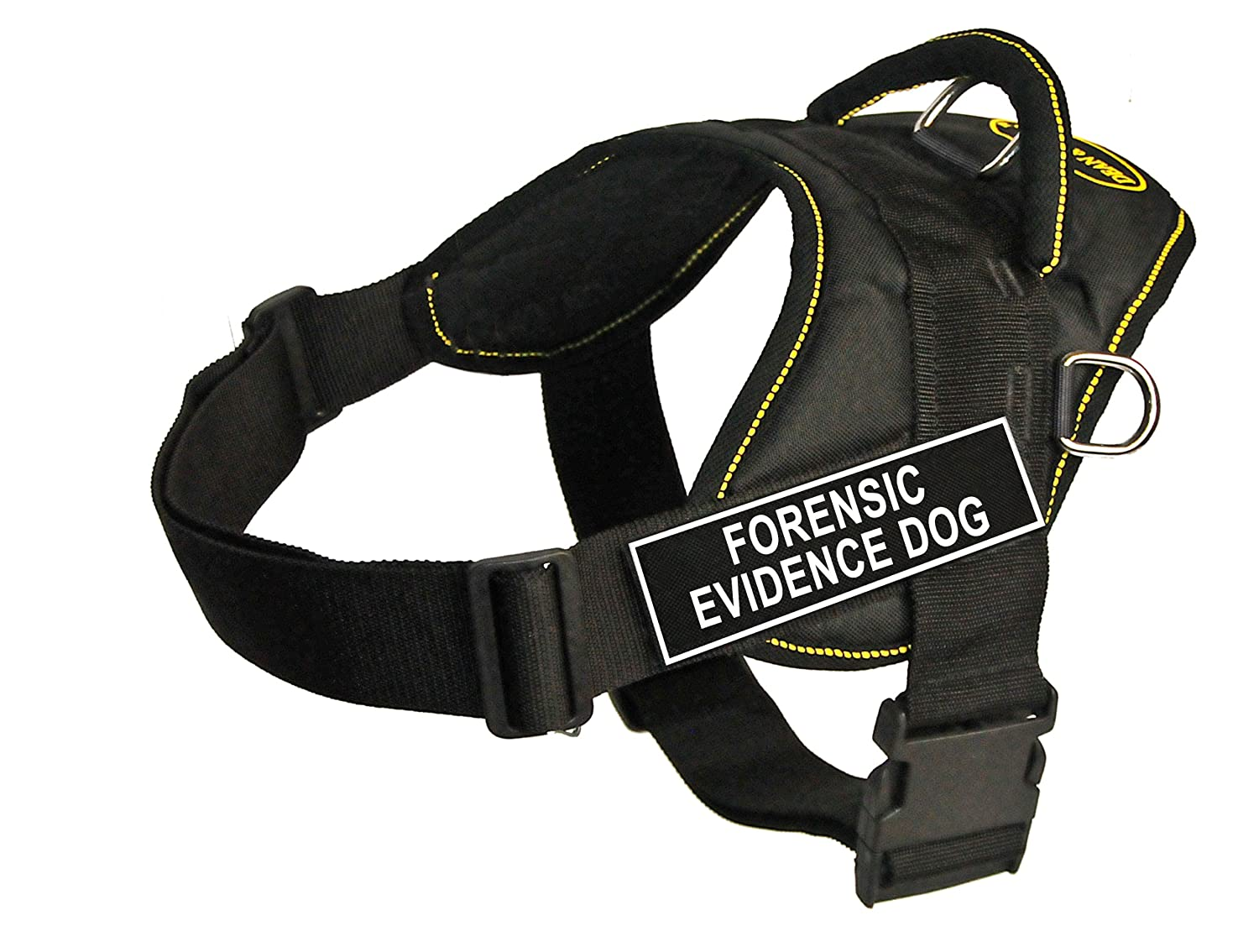 Dean & Tyler Fun Works 34-Inch to 47-Inch Pet Harness, X-Large, Forensic Evidence Dog, Black with Yellow Trim