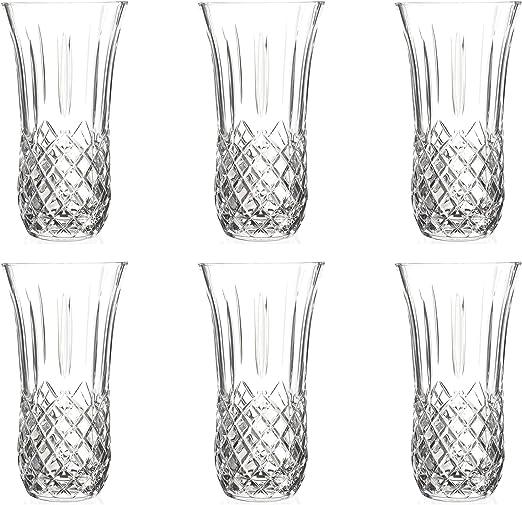 RCR cristal del vidrio de corte Opera Centro de mesa Vase - 250 mm - Pack de 6 decorativo de los floreros: Amazon.es: Hogar
