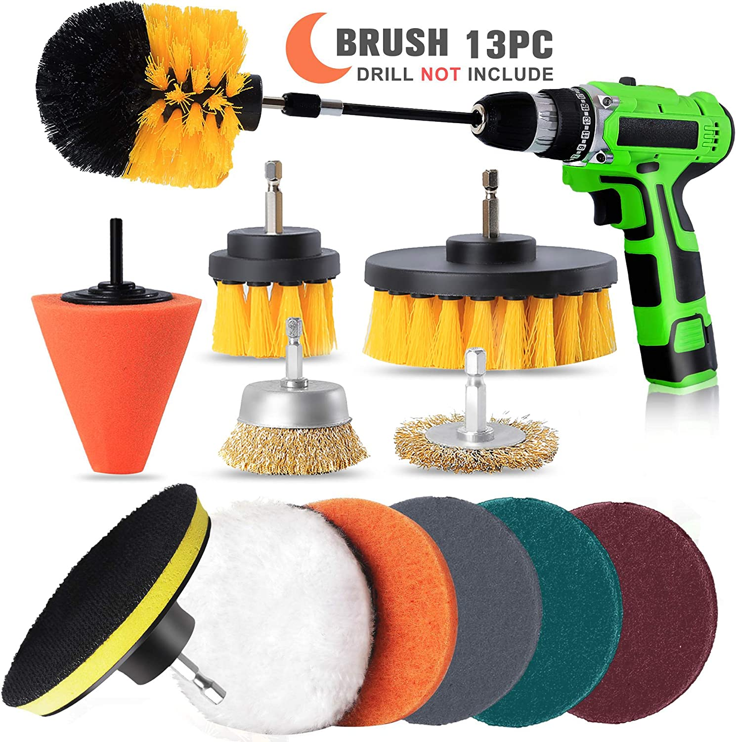 Grout Bathroom Drill Brush Attachment set 13pcs Floor Kitchen,Derusting Tiles power scrubber with additional wire and conical brushes for Cars Sinks Bathtub Grill