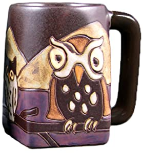 One (1) MARA STONEWARE COLLECTION - 12 Oz Coffee Cup Collectible Square Bottom Dinner Mugs - Night Owl
