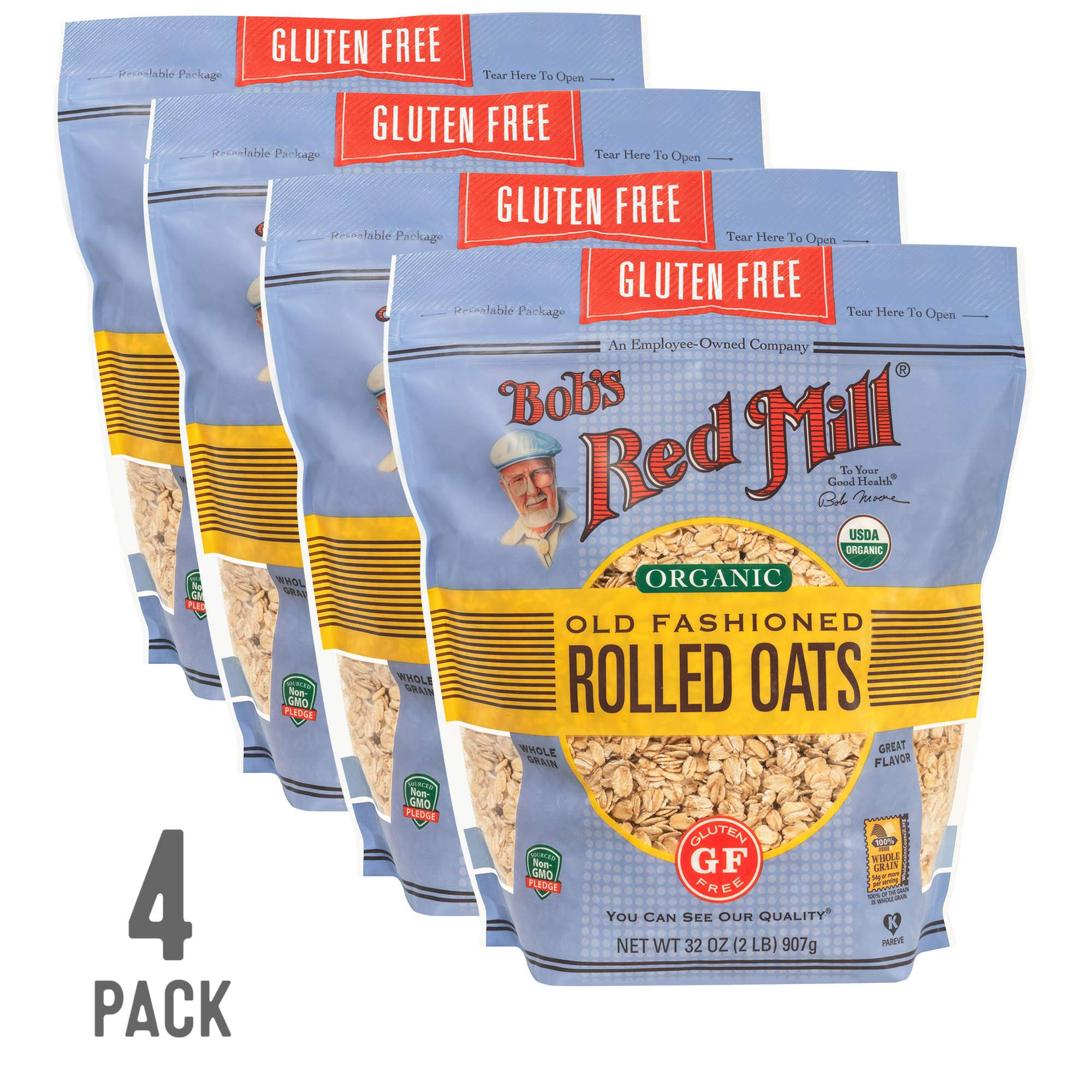 Bob's Red Mill Resealable Gluten Free Organic Old Fashioned Rolled Oats, 32 Oz (4 Pack) by Bob's Red Mill