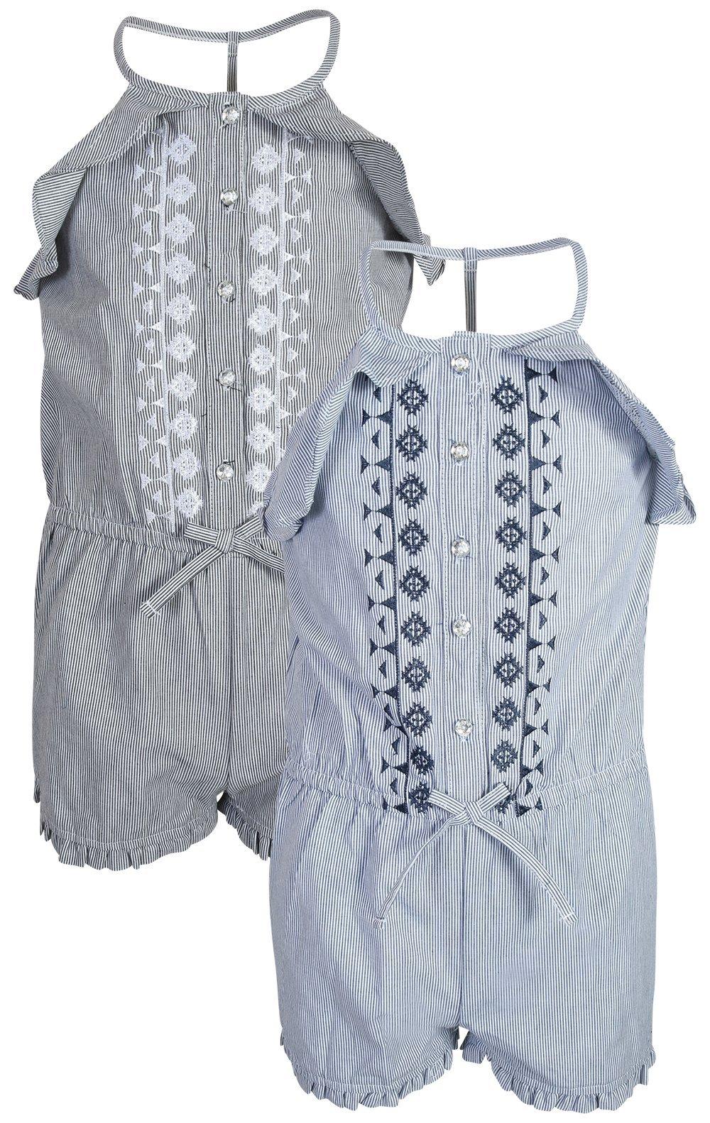 dollhouse Girl's Spring/Summer Denim Romper (2 Pack), Ruffle, Size 7/8'