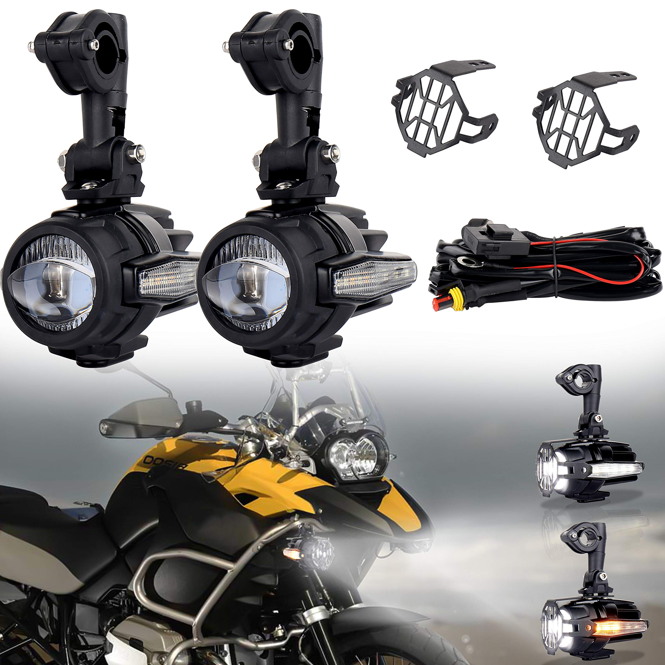 OVOTOR Motorcycle LED Auxiliary Lights 40W 3000LM Spot Driving Fog Light with DRL Turn Signal for Universal BMW Honda Harley Motorcycle Bar Fits R1200GS F800GS K1600 KTM 2PCS by OVOTOR